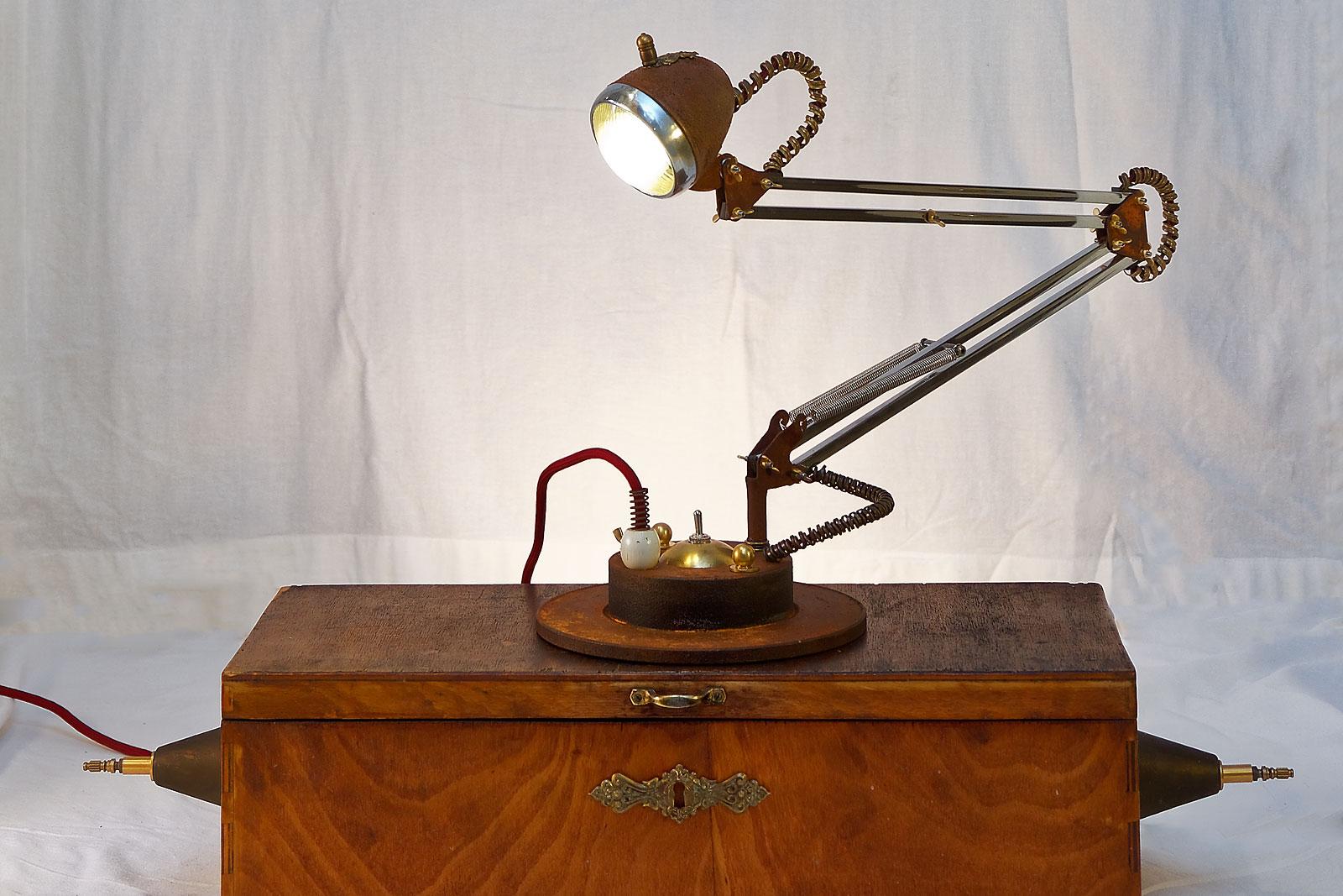 Steampunk table lamp. Vintage. Industrial design. Interior Design. Rat style